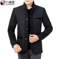 九鹰堡中年男士外套春款立领羊毛呢夹克上衣休闲男装中老年爸爸装