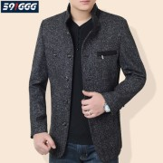 中年男士外套春秋季薄款羊毛呢夹克男立领中老年人男装爸爸装夹克