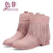 色非秋冬新款羊京尖头女靴子流苏短靴粗跟英伦女鞋平跟靴