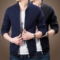 春秋季新款大码男休闲夹克韩版纯色修身立领外套简约加绒加厚男装