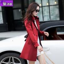 依诗欧2016春秋装新品中长款修身气质淑女韩版女士风衣 女装外套