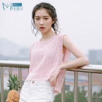 蜜妃儿 女装夏装2016新款潮韩版宽松镂空罩衫无袖针织t恤女短款