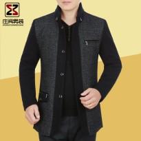 2016新款春季中年男士夹克立领毛呢大衣男中长款男装外套爸爸装