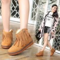 冬季雪地靴磨砂女鞋平底保暖棉鞋韩版圆头平跟流苏短靴靴子