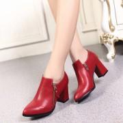 名典秋冬季新品深口拉链尖头粗跟高跟单鞋女 舒适女鞋高跟鞋