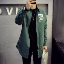 春装日系男装薄款风衣韩版修身中长款 外套男士简约薄夹克外衣 潮