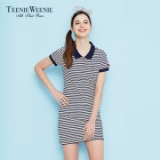 Teenie Weenie小熊女装2016春夏新品polo领条纹连衣裙TTOM66310I
