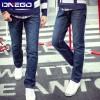 男装牛仔裤合体直筒长裤韩版修身加厚深色水洗牛仔裤