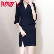 三加八2017韩版女装时尚职业连衣裙修身显瘦气质ol工作服秋季新款