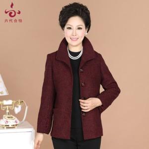 中老年女装春秋装毛呢外套中年长袖妈妈装老年人冬装舒适上衣