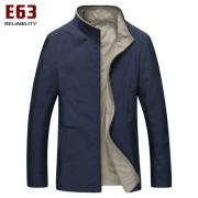 E63男士双面中年男夹克衫 秋季薄款商务休闲男装 大码立领外套