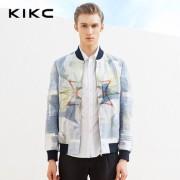 kikc2016春季男装新品 欧美男士立体几何印花棒球服青年夹克外套