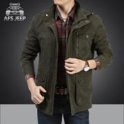 AFS JEEP吉普大码男装薄款男士夹克春秋衣服商务中长款外套男夹克