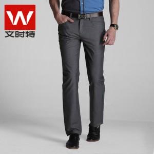 文时特男士休闲裤男装春款修身直筒韩版中年长裤子男裤正品