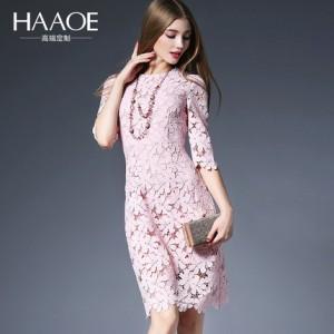 2016春新款欧美女装包臀修身蕾丝连衣裙中袖打底中长裙子