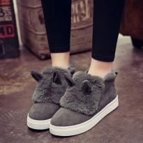 秋冬季女鞋韩版松糕底兔毛单鞋加绒一脚蹬懒人套脚鞋乐福鞋