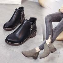 粗跟马丁靴女靴韩版2017春秋侧拉链圆头短筒靴子学生中跟单靴短靴