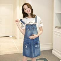 孕妇装春夏装2016新款韩版牛仔背带裙宽松大码牛仔吊带连衣裙