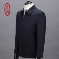 热卖鼎铜男装 高端经典春款羊毛夹克男 中年男士商务翻领羊毛外套