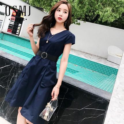欧诗曼锦2018新款夏v领女装连衣裙韩版时尚不规则修身J18BL1386
