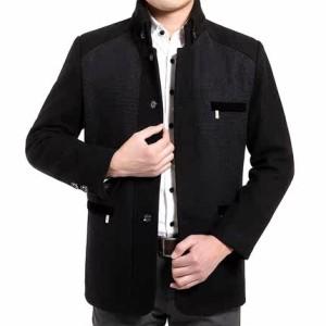 2016春秋款中年男式夹克外套休闲爸爸装立领中老年男装羊毛呢大码