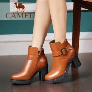 骆驼短靴冬新款女鞋粗跟高跟女靴 真皮靴子圆头防水台单靴