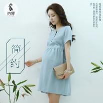 孕妇装夏季韩版孕妇连衣裙子2016新款时尚宽松夏装短袖上衣中长款